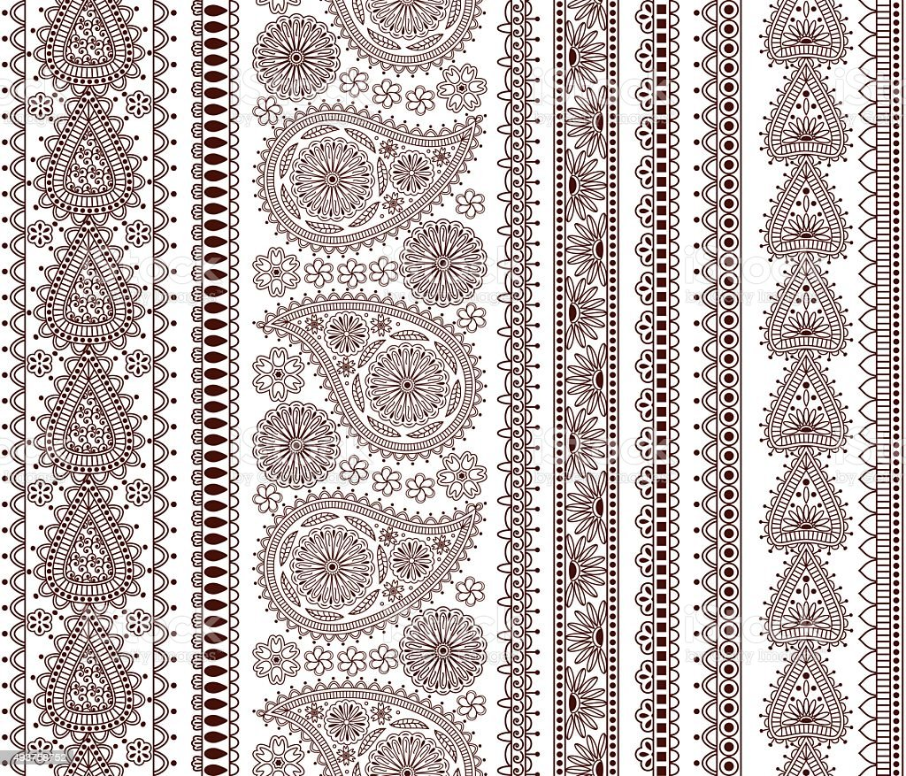 Set of Ornamental Seamless Borders in indian style vector art illustration
