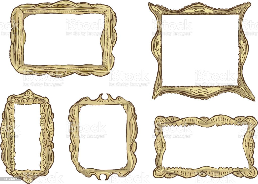Set of ornate antique guilded frames vector art illustration
