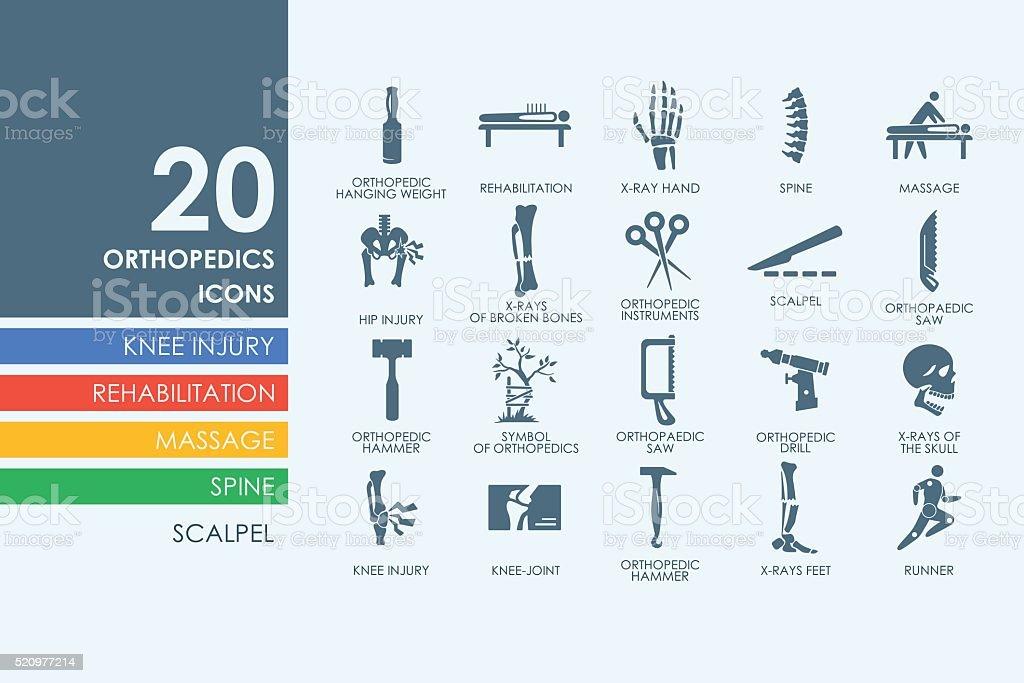 Set of orthopedics icons vector art illustration