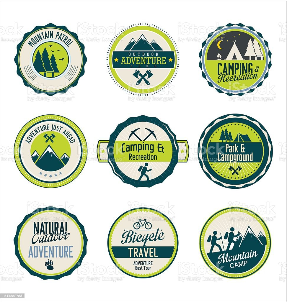Set of outdoor adventure blue and green retro labels vector art illustration