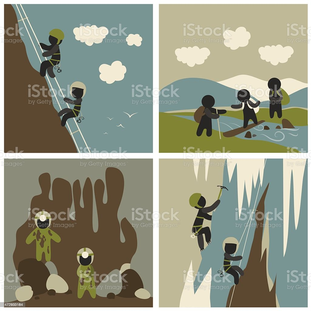 Set of outdoor leisure pictures vector art illustration