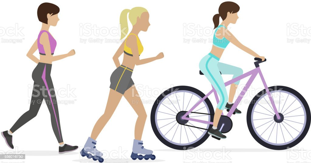 Set of outdoor workouts vector art illustration