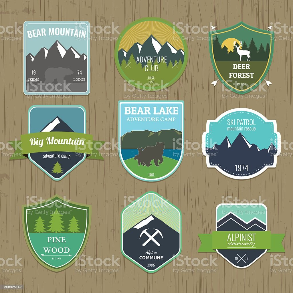 Set of outdoors adventure and expedition badges and labels vector art illustration