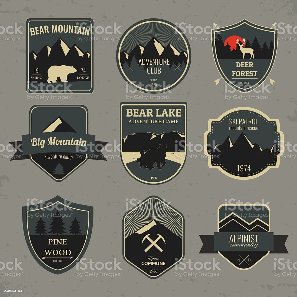 Set of outdoors adventure and expedition badges and labels. Vector royalty-free stock vector art