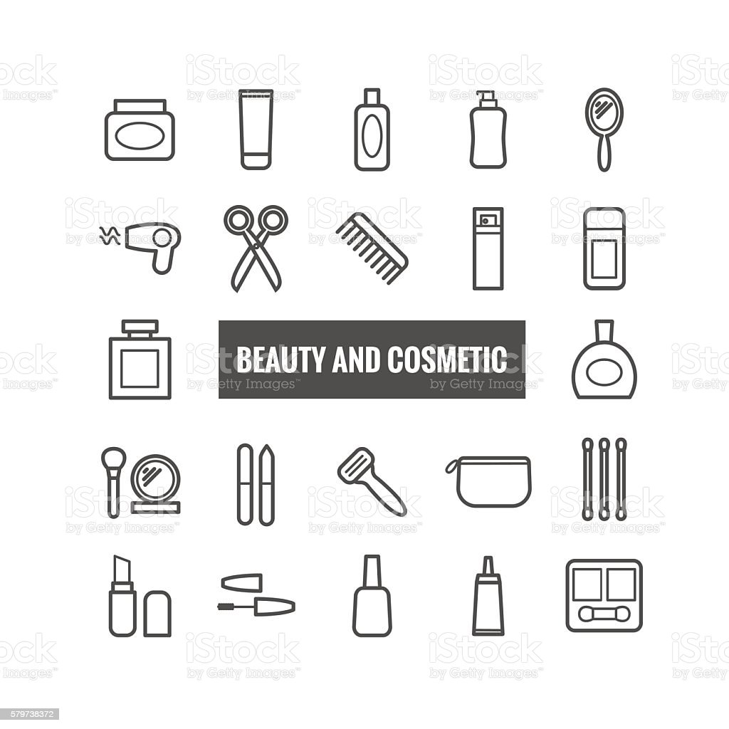 Set of outline beauty and cosmetic icons vector art illustration