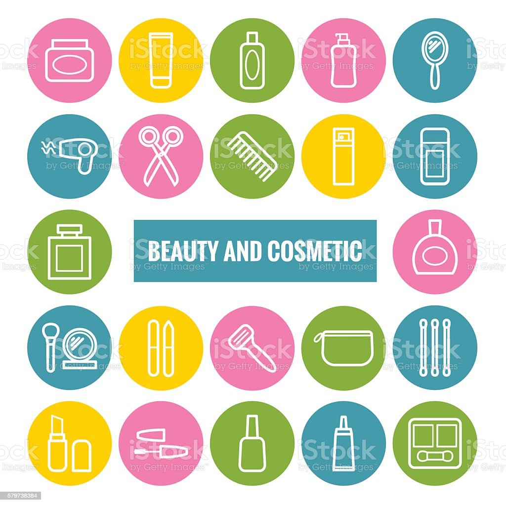 Set of outline beauty and cosmetic icons. vector art illustration