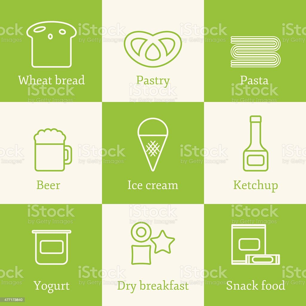 Set of outline icons with allergic gluten products: bread, pastry vector art illustration