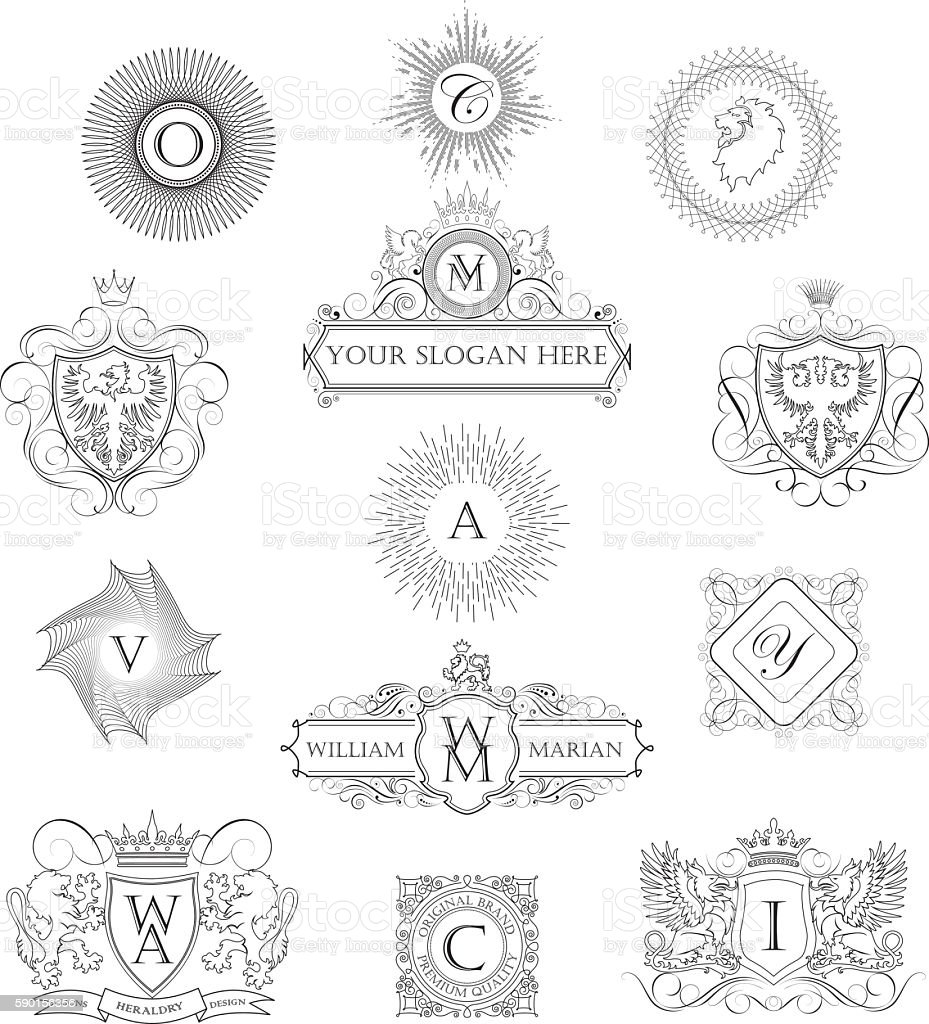 Set of outline monograms vector art illustration