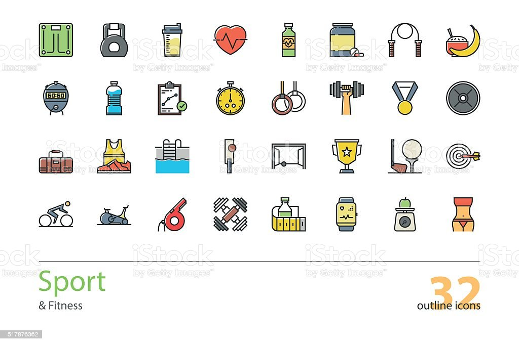Set of outline Sport and Fitness colorful icons. vector art illustration