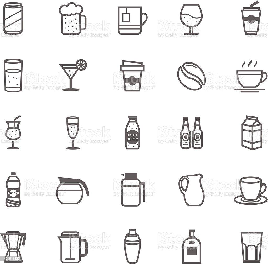 Set of Outline Stroke Beverage icon vector art illustration