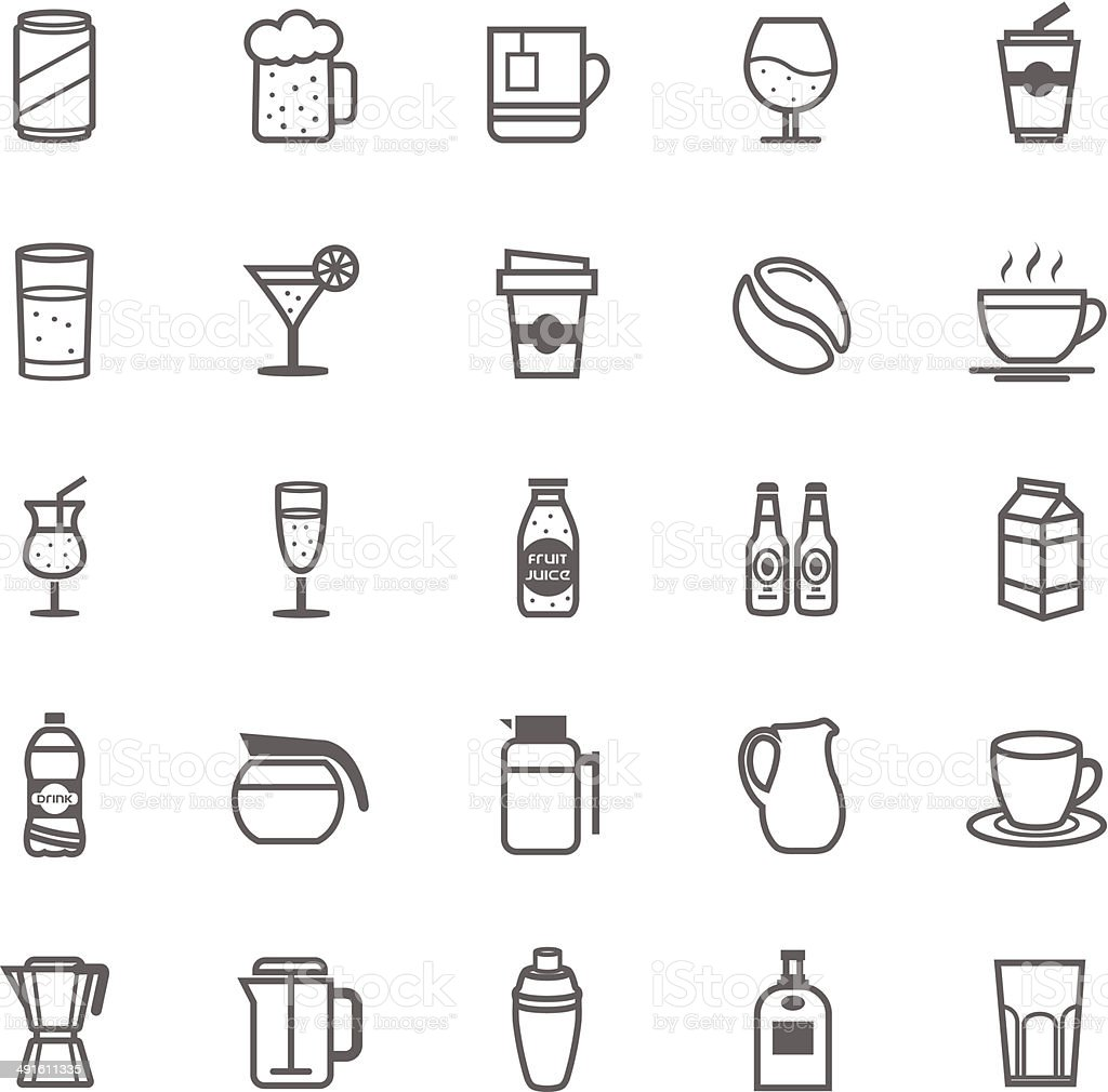 Set of Outline Stroke Beverage icon vector art illustration