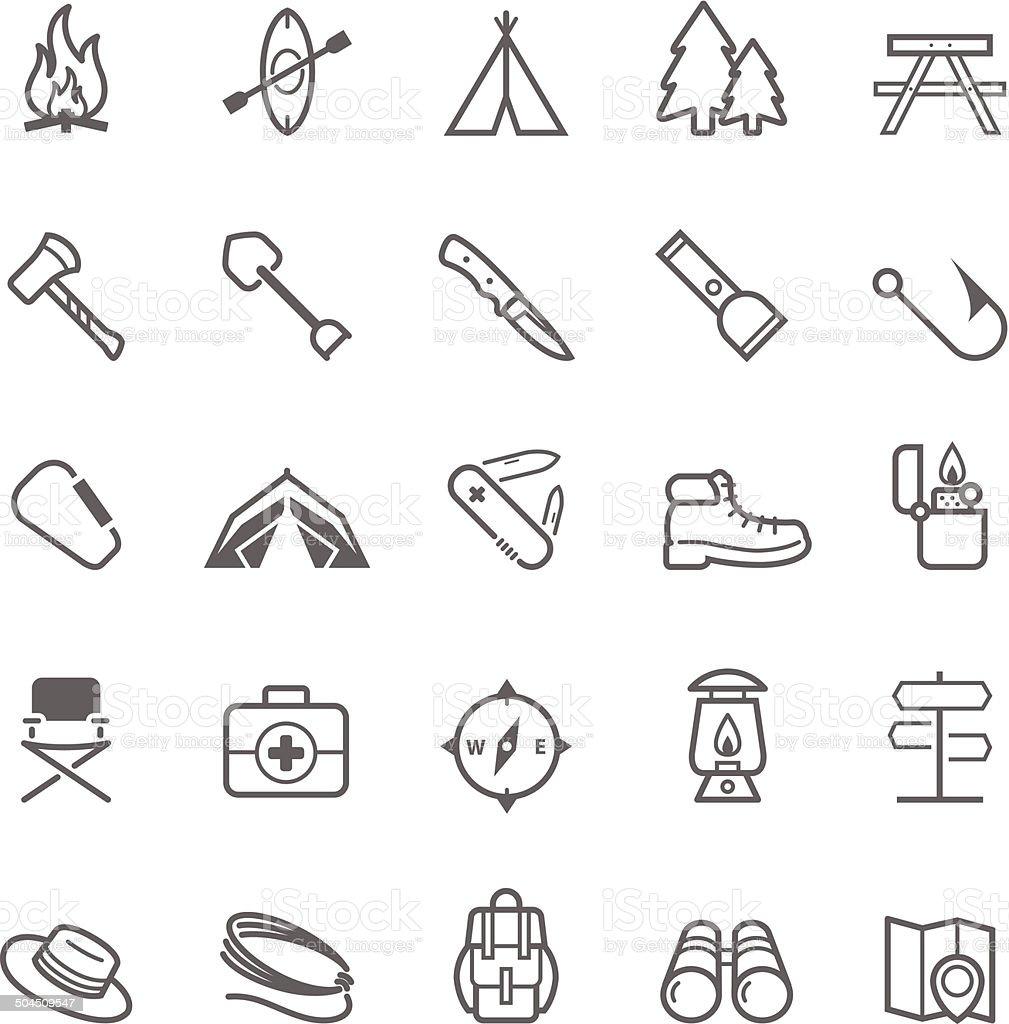 Set of Outline stroke Camping icon vector art illustration