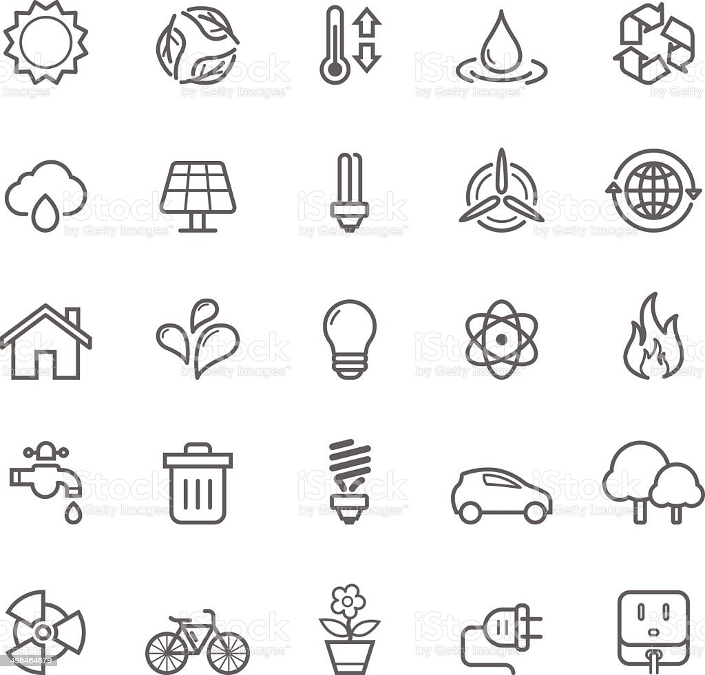 Set of Outline Stroke Ecology Icons vector art illustration