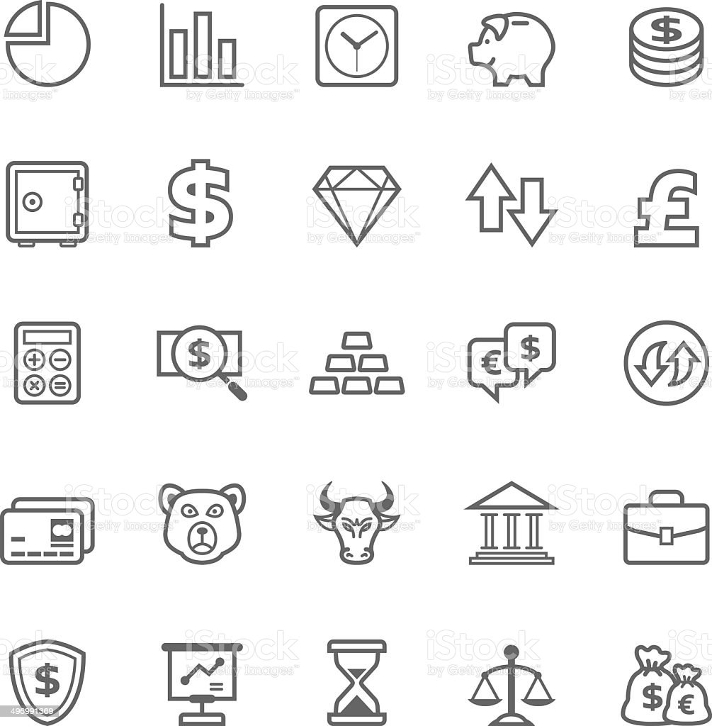 Set of Outline stroke Finance and Stock icon vector art illustration