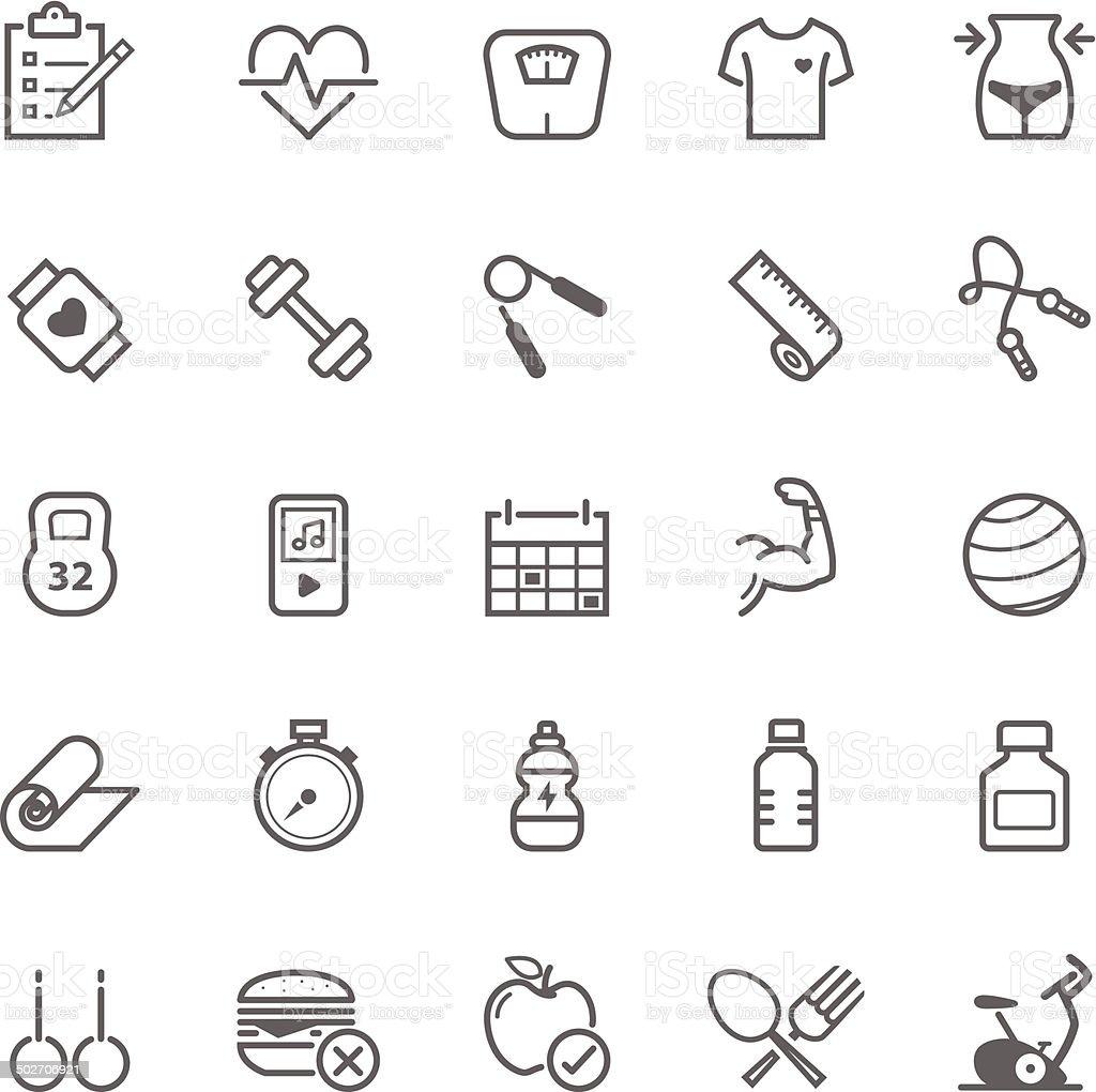 Set of Outline stroke Fitness icons vector art illustration