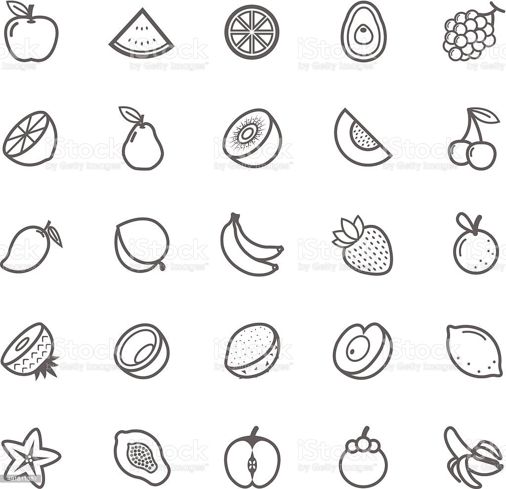 Set of Outline stroke Fruit icon vector art illustration