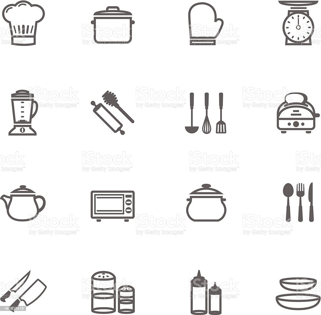 Set of Outline stroke Kitchenware icon vector art illustration