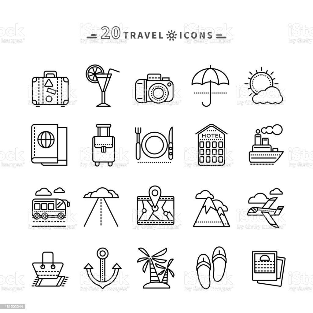 Set of Outline Travel Icons on White Background vector art illustration