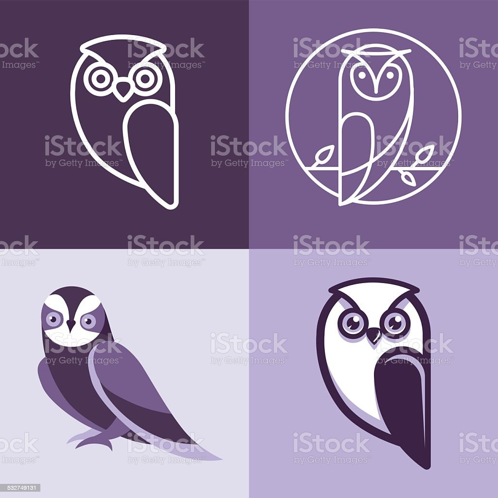 Set of owl logos and emblems vector art illustration