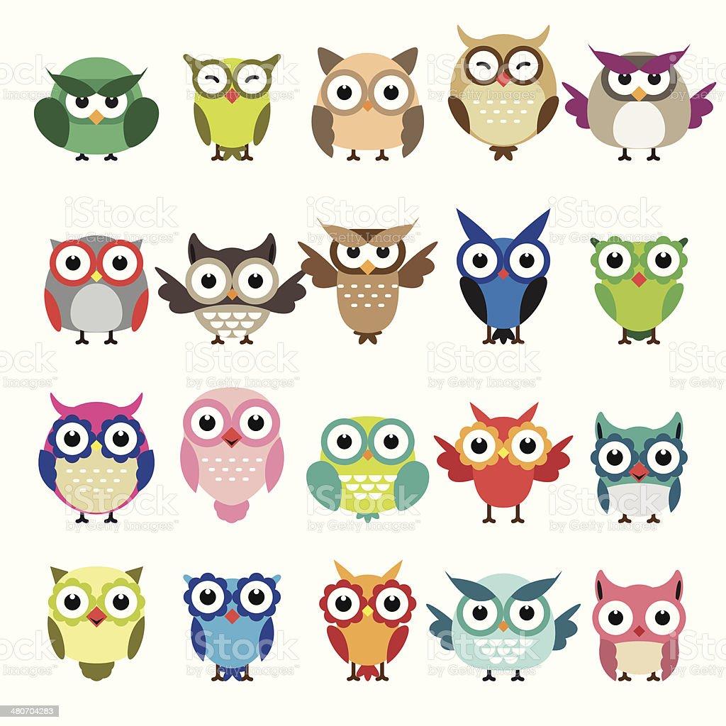 Set of owls isolated on white background vector art illustration