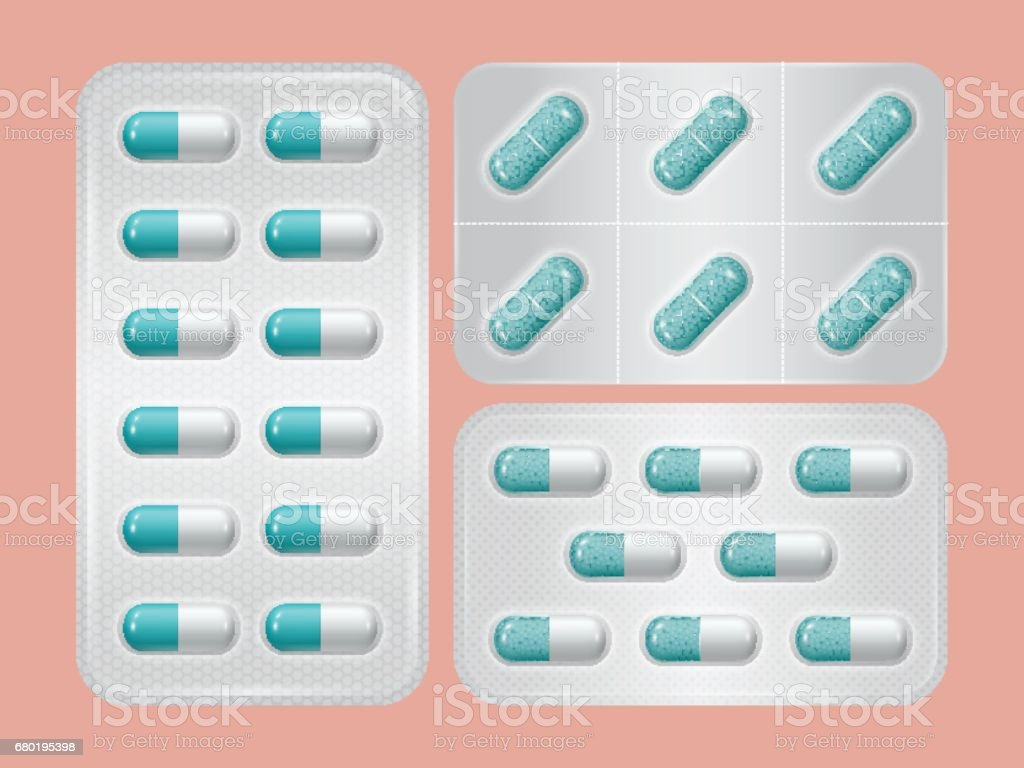Set of package of pills. Group of realistic blue pharmaceutical drugs. vector art illustration
