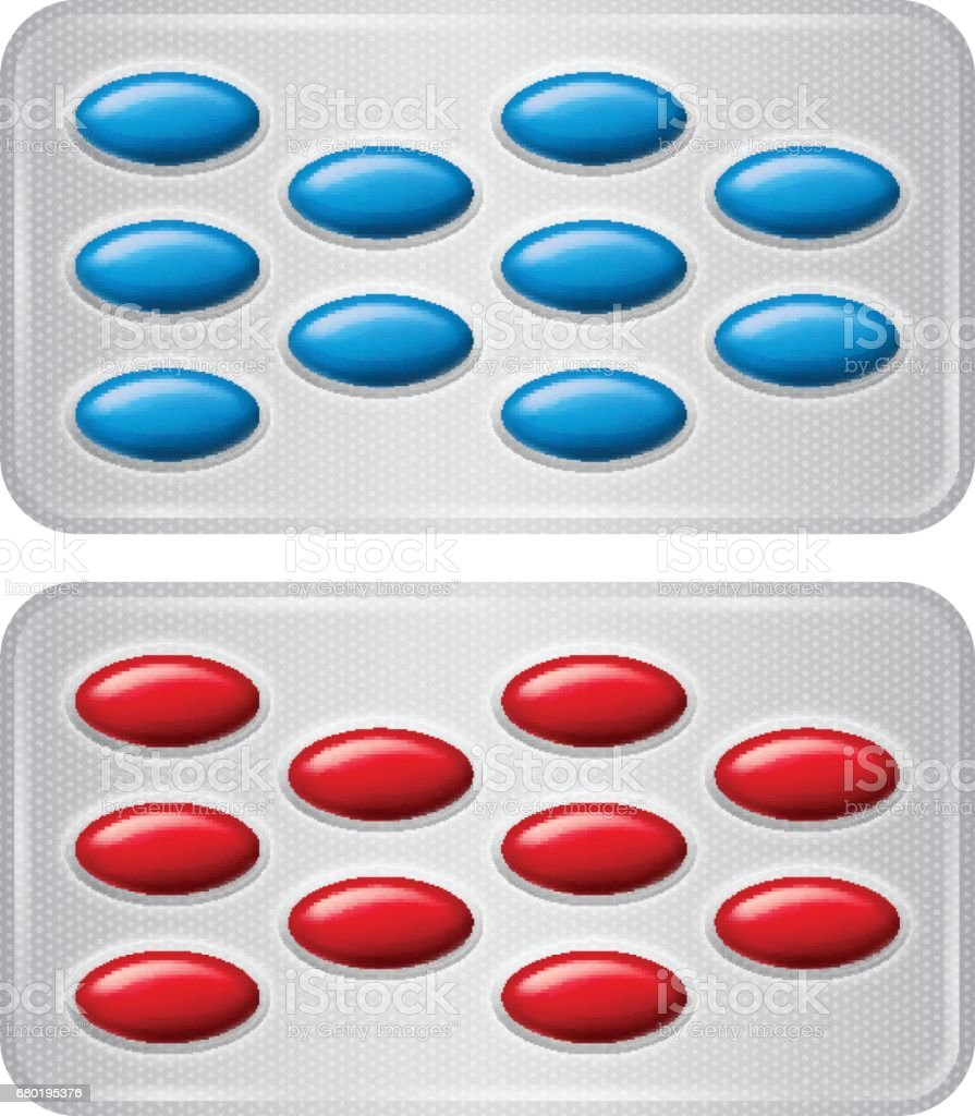 Set of Package of pills. Group of realistic red blue pharmaceutical drugs. vector art illustration