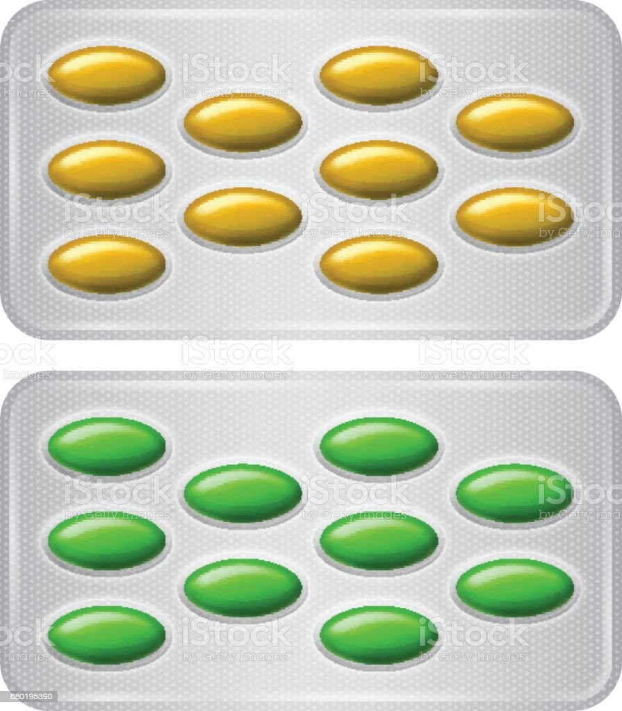 Set of Package of pills. Group of realistic yellow green pharmaceutical drugs. vector art illustration