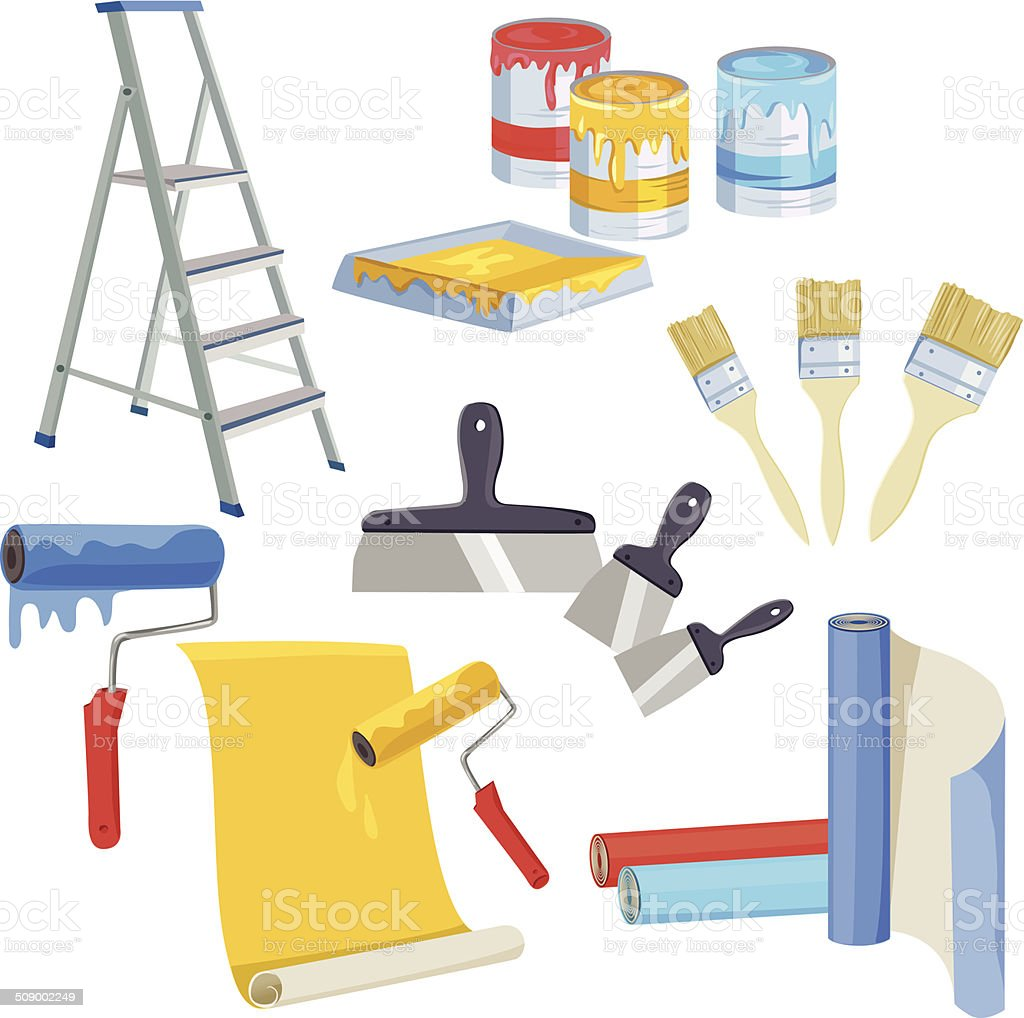 set of paints for home renovation vector art illustration