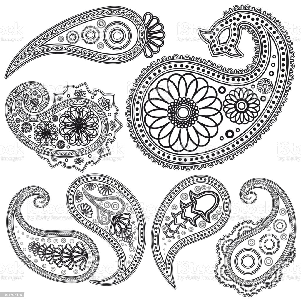 Set of Paisley elements. royalty-free stock vector art