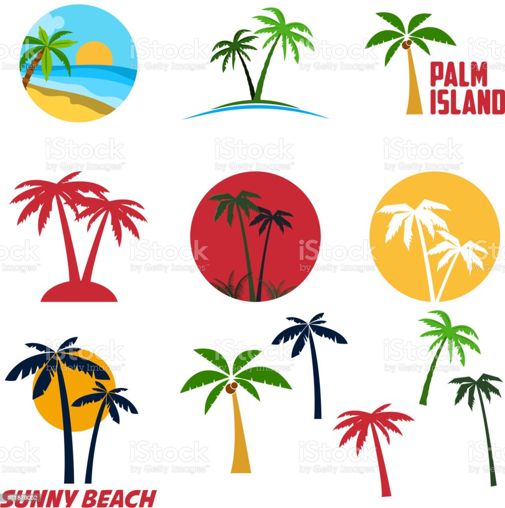 Set of palm island labels and emblems vector art illustration