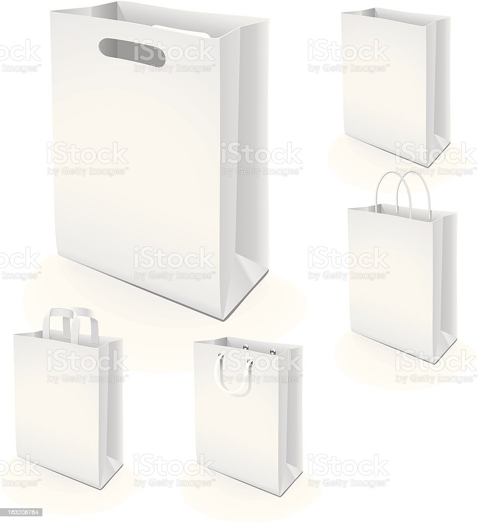 Set of paper bags vector art illustration