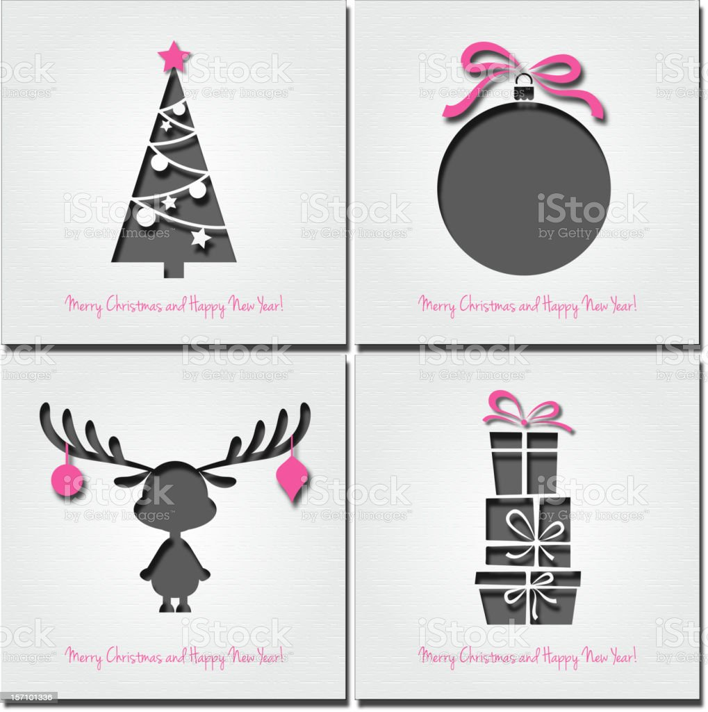 Set of paper Christmas card royalty-free stock vector art