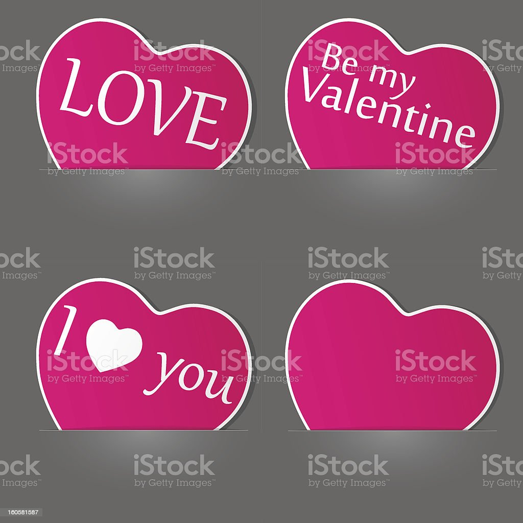 Set of paper hearts. royalty-free stock vector art