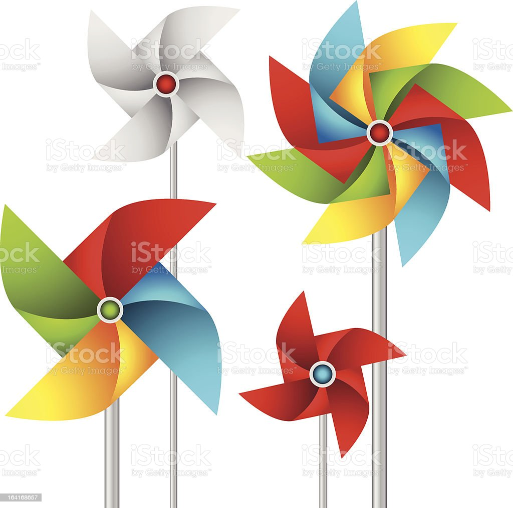 Set of paper weather vanes vector art illustration