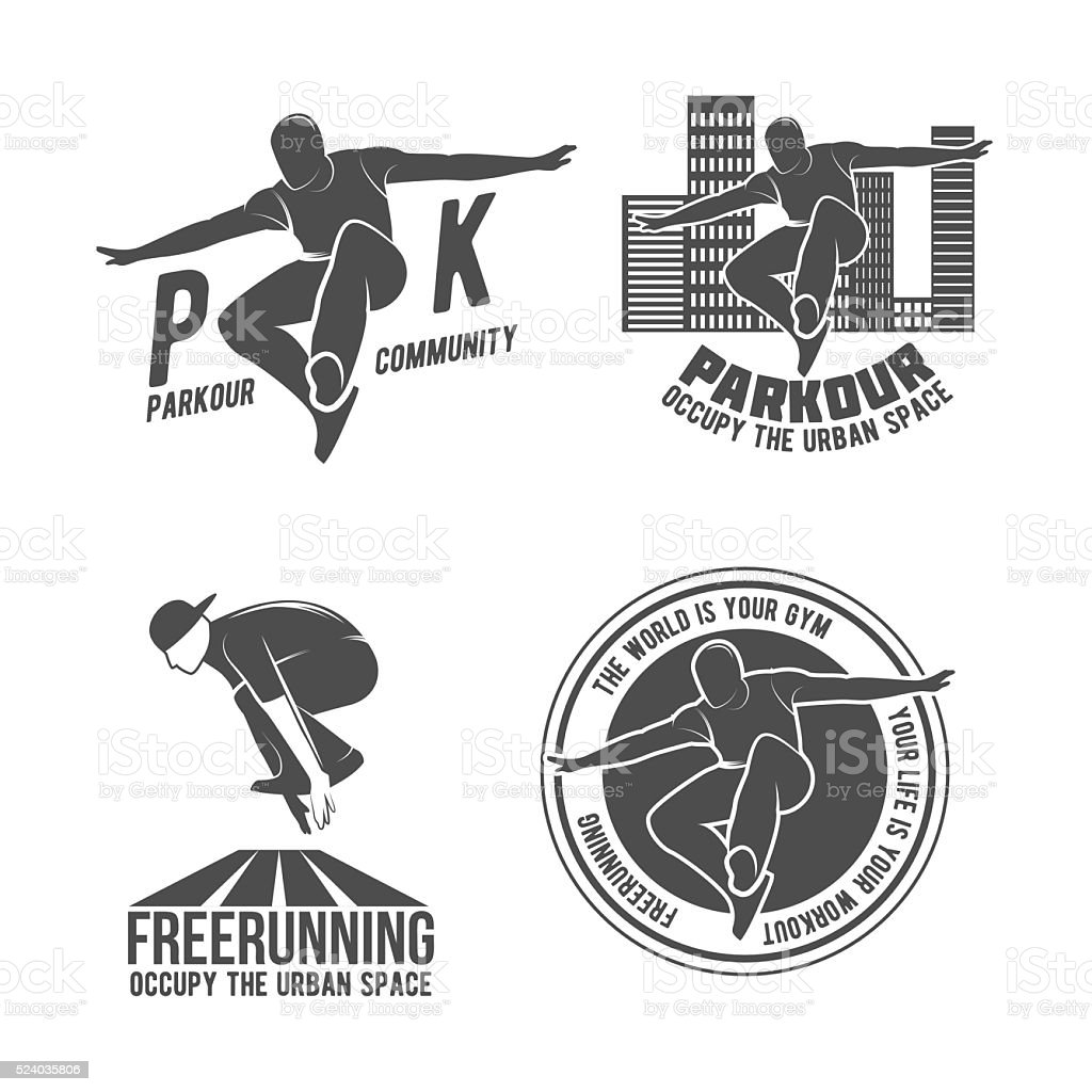 Set of parkour and free running badges vector art illustration