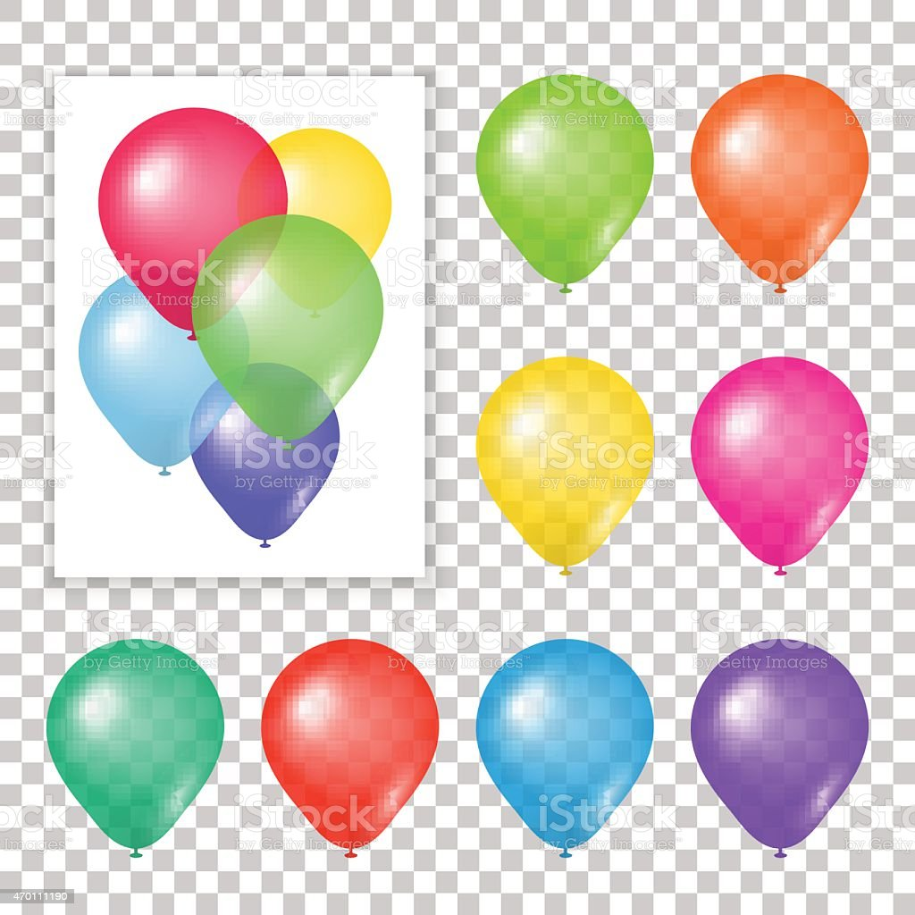 Set of party balloons on transparent background. vector art illustration