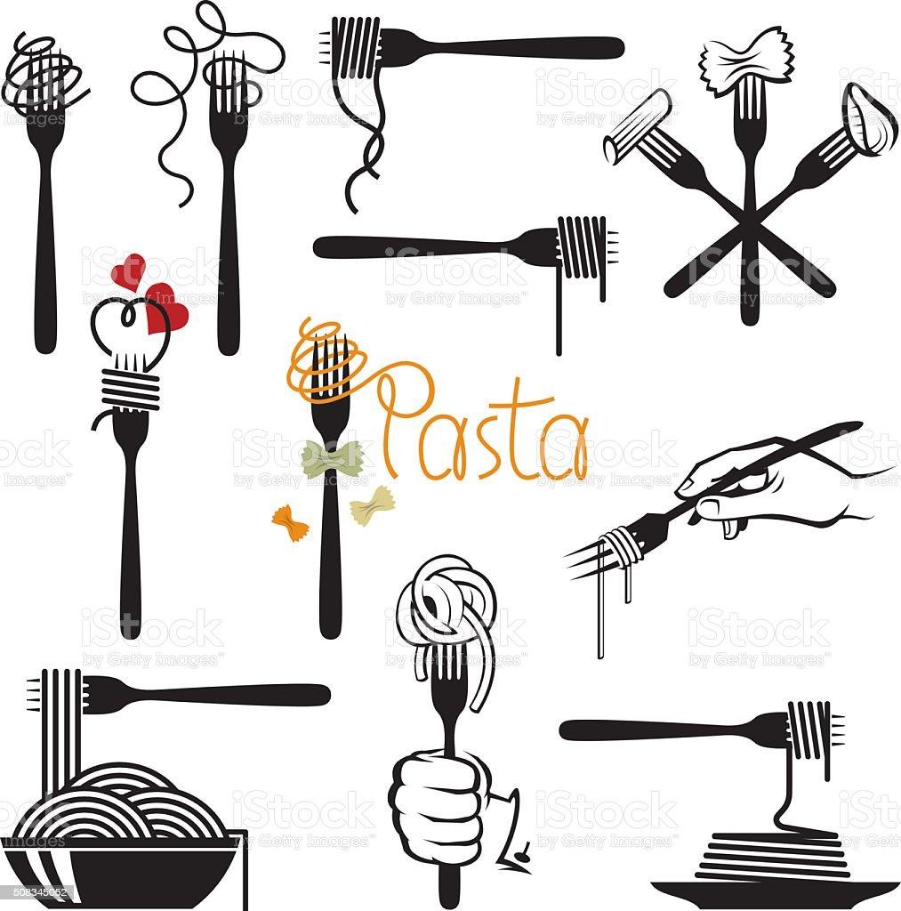 set of pasta elements vector art illustration