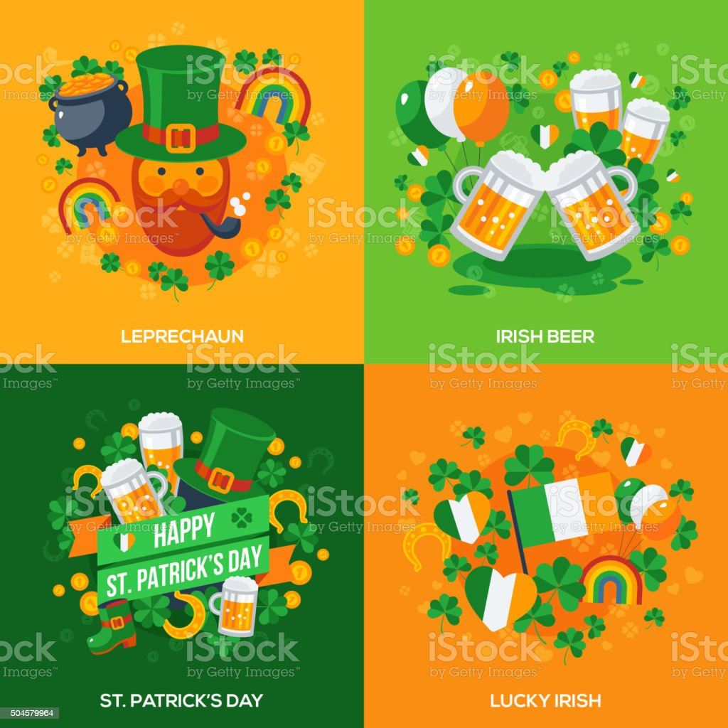 Set Of Patricks Day Flat Icons Concept vector art illustration