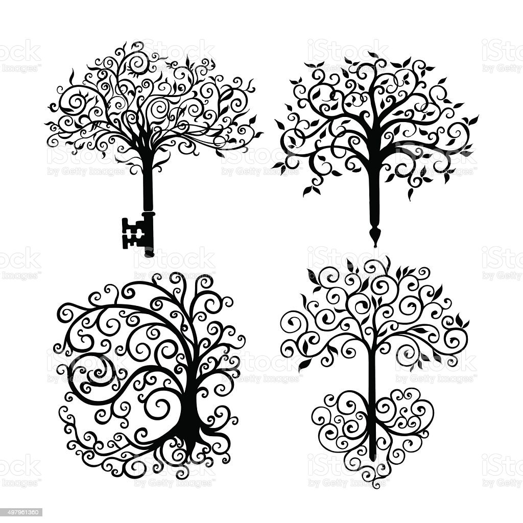 Set of patterned openwork trees as a symbol or logo vector art illustration