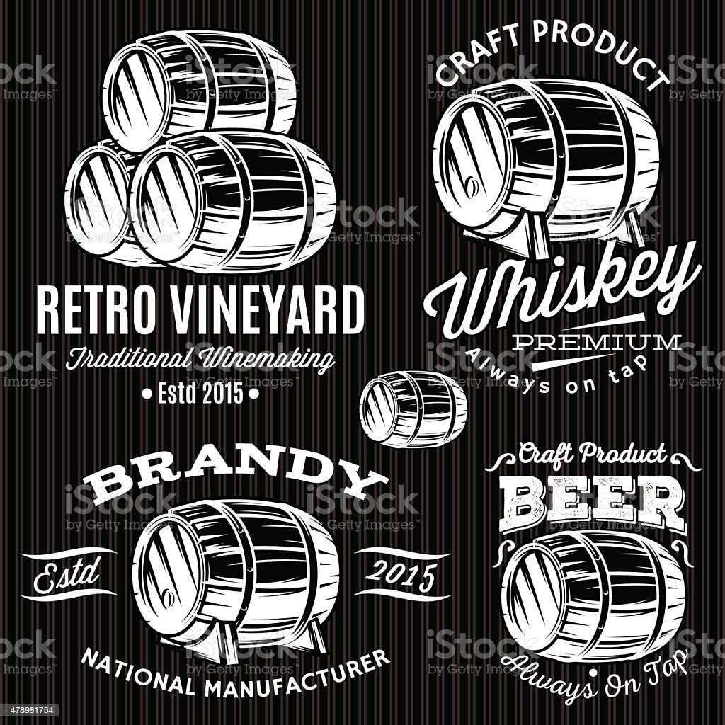 set of patterns for monochromatic emblems with barrels vector art illustration