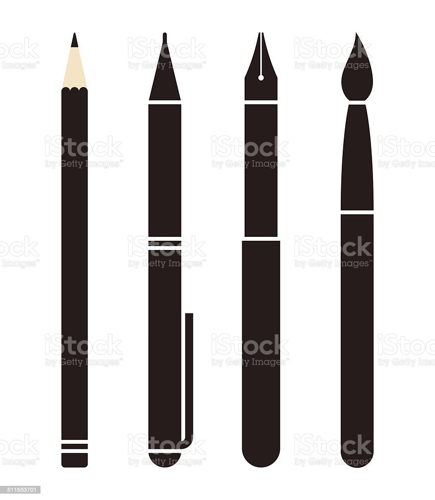 Set of pens and pencils vector art illustration