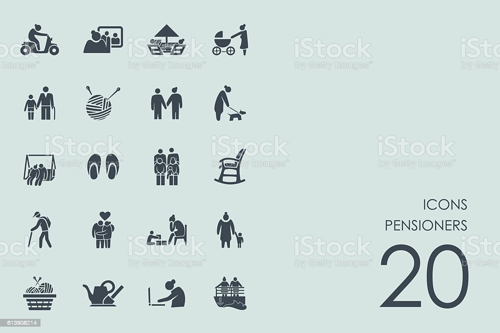 Set of pensioners icons vector art illustration