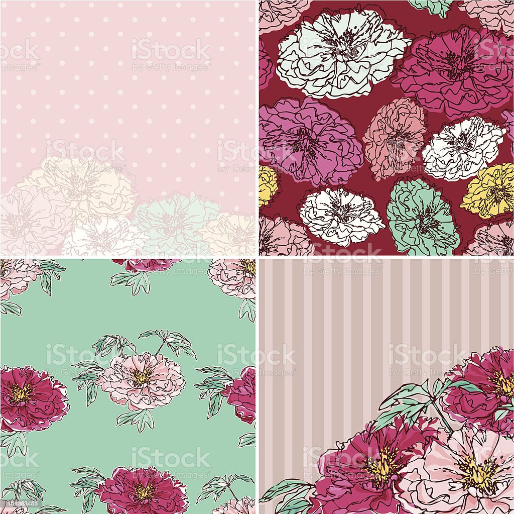 Set of Peonies Cards royalty-free stock vector art