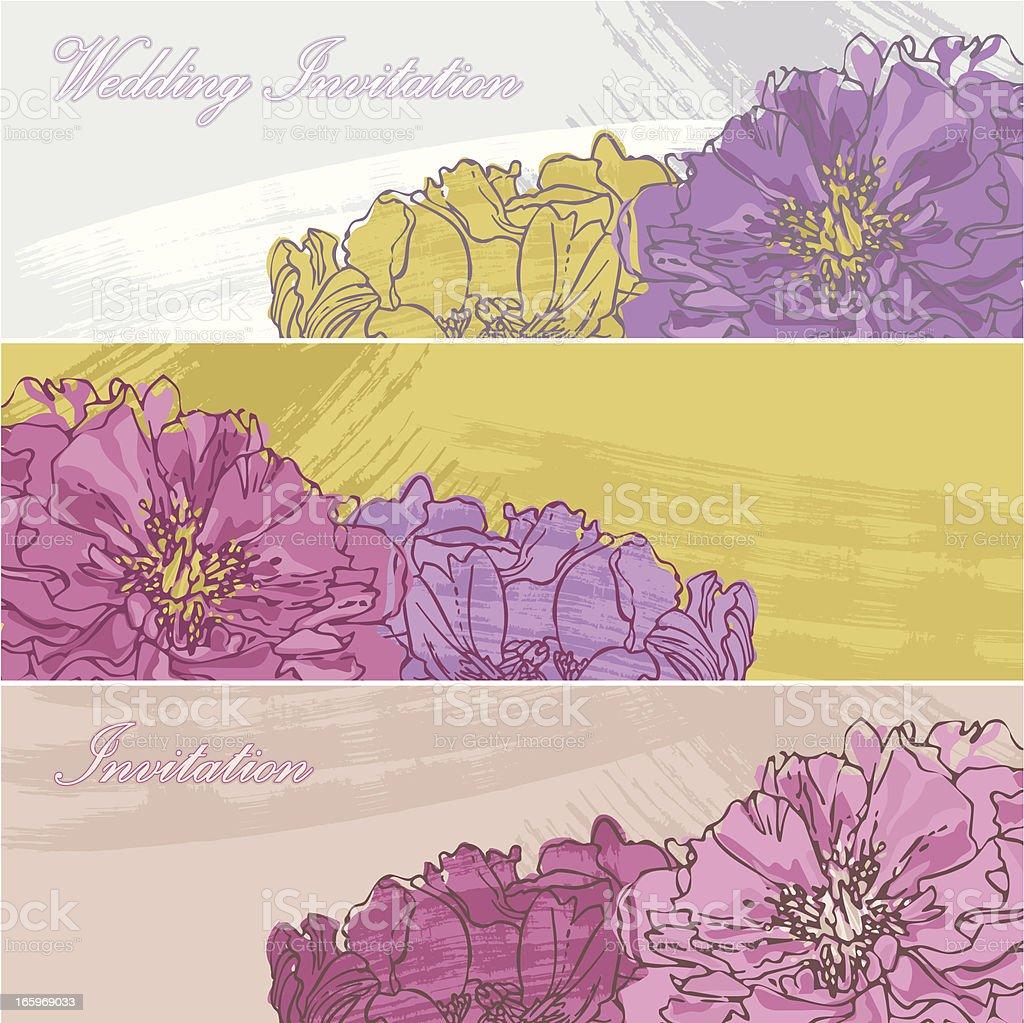 Set of Peony Banners vector art illustration
