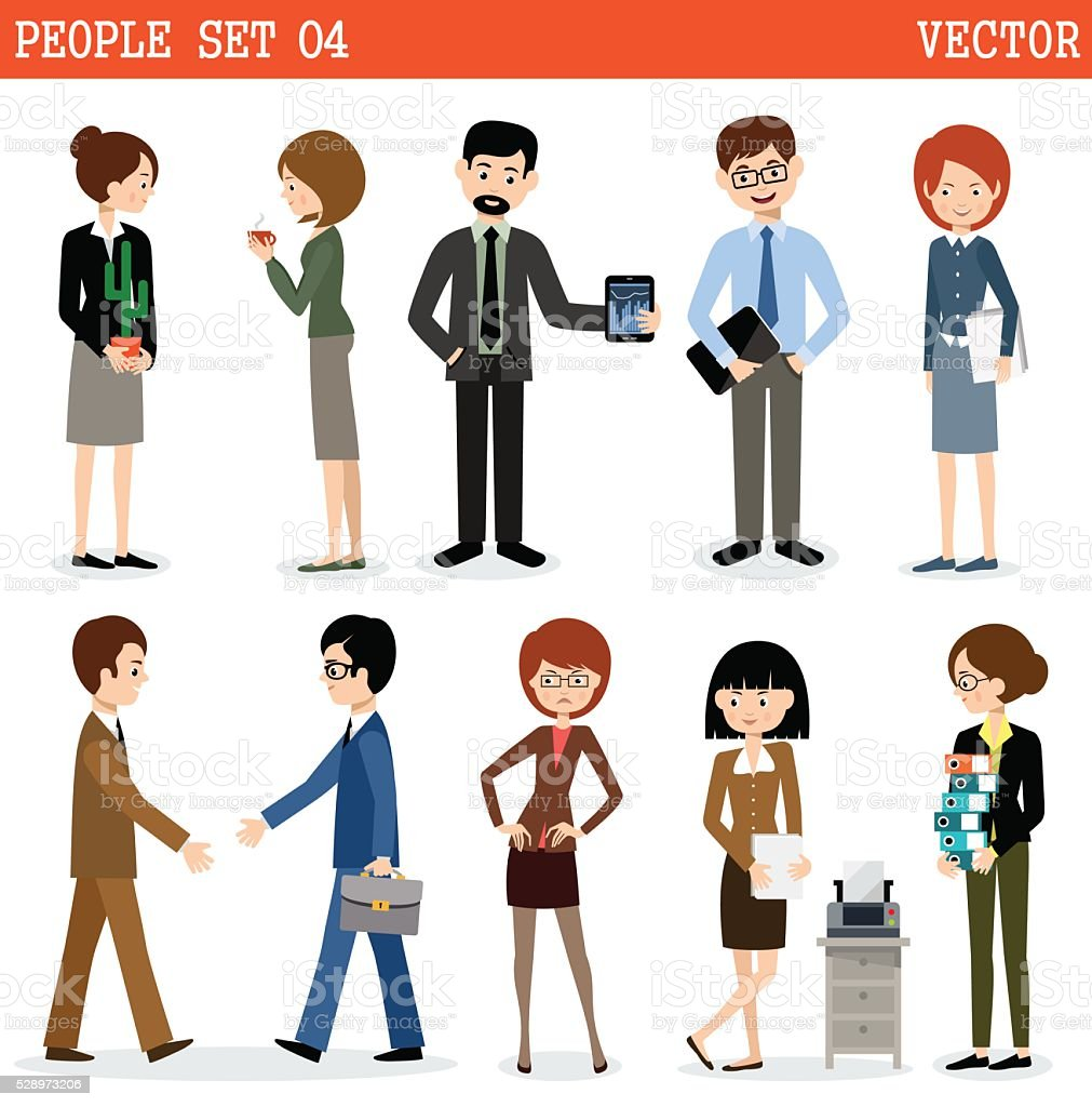 Set of people at office. vector art illustration