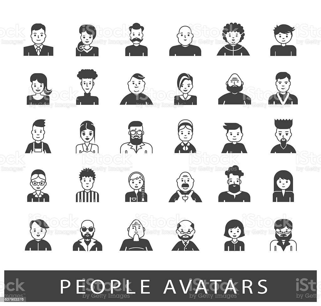 Set of people avatars vector art illustration