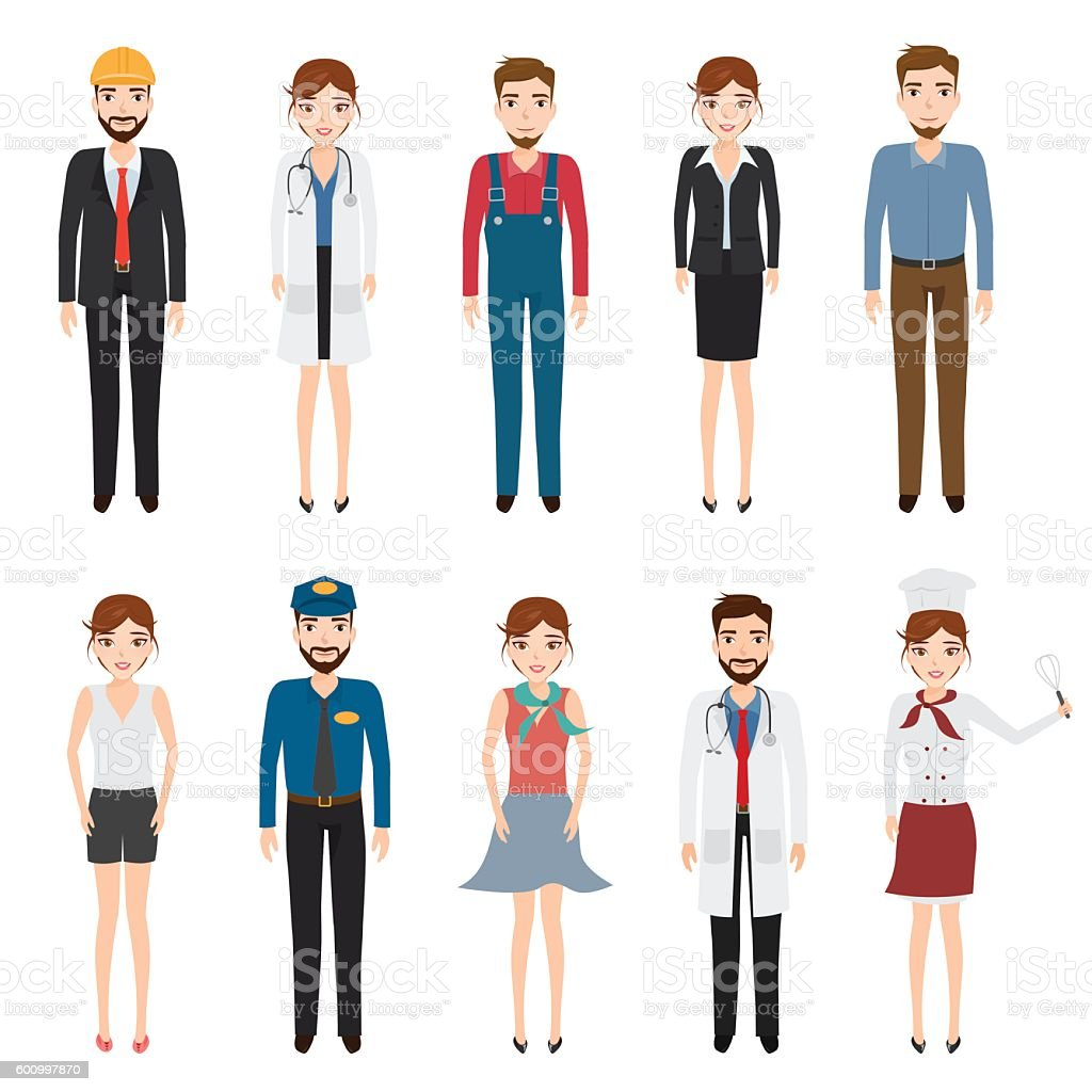 Set of people character with job. Occupation character. vector art illustration