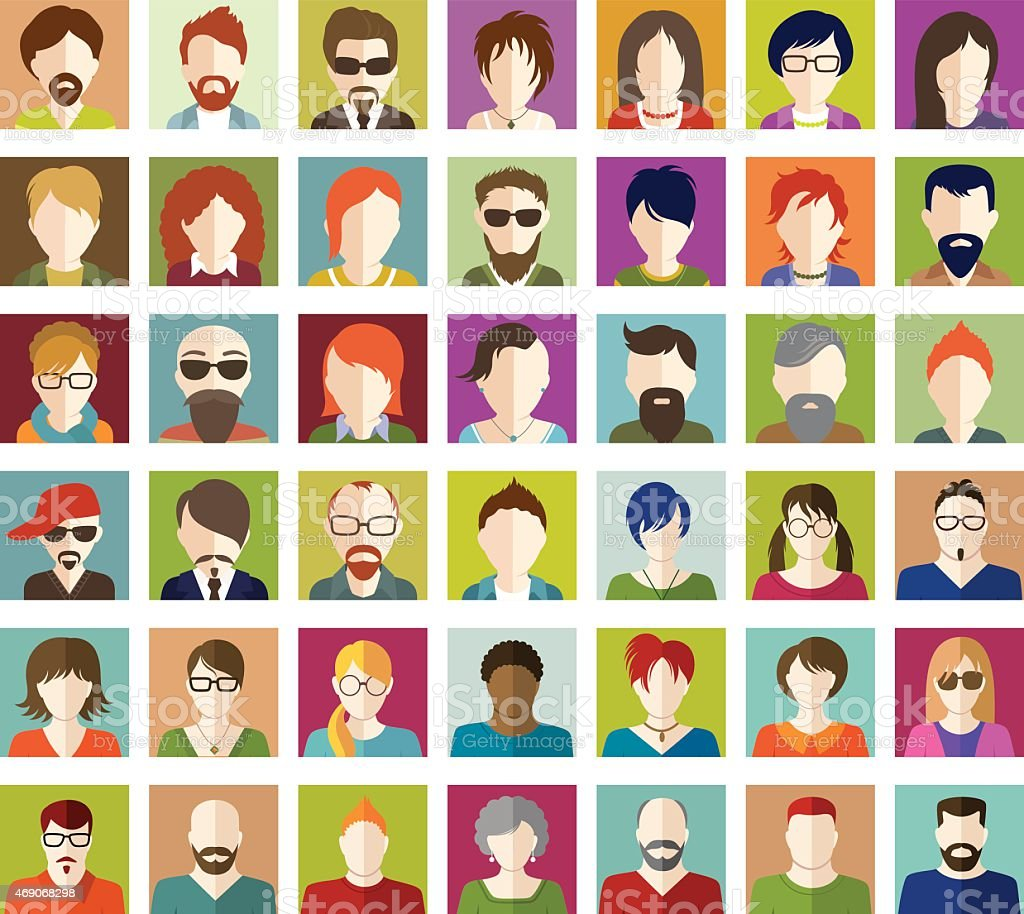 Set of People Flat icons. vector art illustration