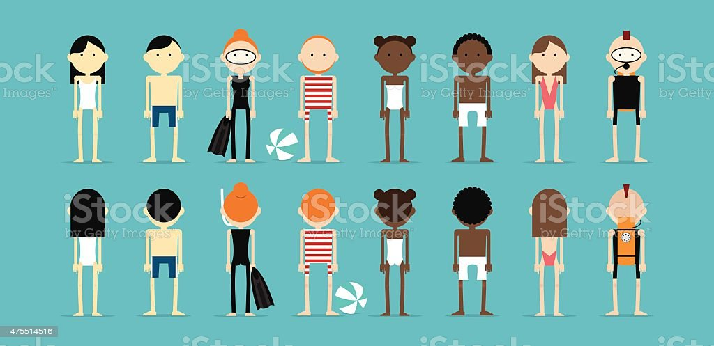 Set of people in swim suits vector art illustration
