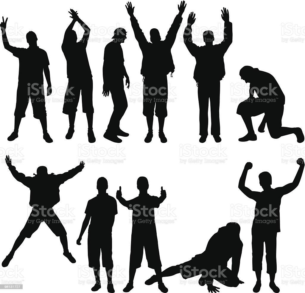 Set of People Silhouettes vector art illustration